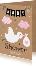 Babyshower uitnodiging ooievaar roze