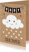 Babyshower uitnodiging wolkje hartjes