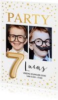 Ballon 7 jaar uitnodiging kinderfeestje foto goud confetti