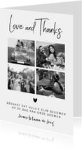 Bedankkaart fotocollage zwart-wit hartje