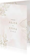 Bedankkaart met elegante bloemen en waterverf