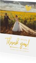 Bedankkaart trouwen thank you goud