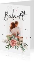 Bedankkaartje bruiloft Bohemian met bloemen