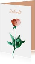 Bedankkaartjes - Bedankt kaart met roos