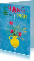 Beterschapskaarten - Beterschapskaart met boeketje bloemen met tekst