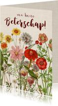 Beterschapskaart met vrolijke vintage bloemen