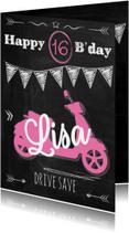 Verjaardagskaarten - Birthday scooter 16 meisje-ByF