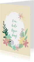 Bloemenkaarten - Bloemenkrans Blanco kaart
