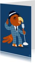 Verjaardagskaarten - Blues papegaai