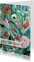 Verjaardagskaarten - Boeket schilderij lint -rh