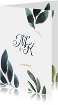 Chique botanische trouwkaart met aquarel bladgroen