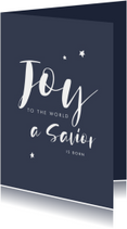 Christelijke kerstkaart handlettering joy tot the world