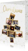 Kerstkaarten - Collage kerstkaart kerstboom wit en goud voor 10 foto's