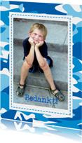 Communie bedankkaart blauw cammouflage