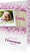 Communie lentefeest vormsel glitter eigen foto roze
