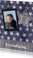 Communie Stoer Blauw ster hout S