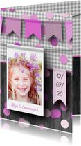Communiefeestje meisje foto en confetti