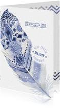 Communiekaart Boho veer indigo-lavendel