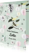 Communiekaart met lieve vogeltjes, bloemen en pompoms