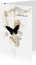 Condoleancekaart geel zwart vlinder
