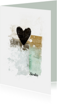 Condoleancekaarten - Condoleancekaart hart zwart abstract