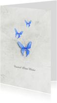Condoleancekaart vaarwel kleine vlinder blauw