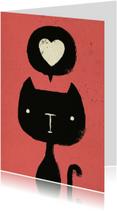 Dierenkaart Roze Zwarte Kat