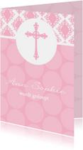 Doopkaart meisje Barok en polkadots