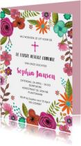 Eerste Heilige Communie uitnodiging met bloemen