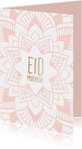 Eid Mubarak kaart met getekende mandala