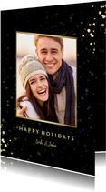 Feestelijke kerstkaart met sterren, foto en gouden confetti