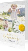 Communiekaarten - Feestelijke uitnodiging communie fotocollage meisje