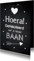 Felicitatie baan typografie krijtbord