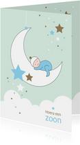 Felicitatiekaarten - Felicitatie - Maan, sterren en slapend kindje