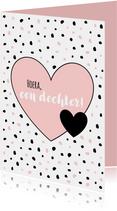 Felicitatie - Slordige stippen met hart, roze