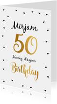 Felicitatie Verjaardagskaart 50 goud