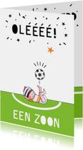 Felicitatiekaarten - Felicitatiekaart geboorte jongen voetbal illustratie