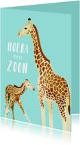 Felicitatiekaarten - Felicitatiekaart hoera een zoon met giraffes