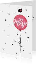 Felicitatiekaarten - Felicitatiekaart vogeltje silhouet op roze ballon
