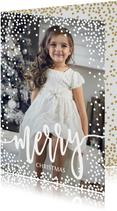 Kerstkaarten - Foto kerstkaart witte dots confetti