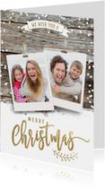 Kerstkaarten - Foto polaroids kerstkaart op hout