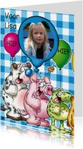 Verjaardagskaarten - foto verjaardag 1 beestjes met ballon