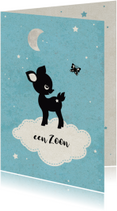 Felicitatiekaarten - Geboorte zoon baby hert op wolkje