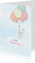 Geboortekaart meisje, kitten en ballonnen