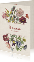 Geboortekaart met pastelkleurige vintage bloemen