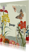 Geboortekaart met vintage bloemen en vlinders