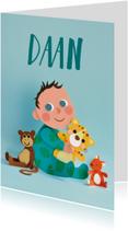 Geboortekaartjes - Geboortekaartje baby met knuffels