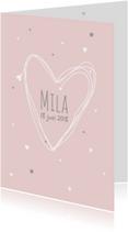 Geboortekaartjes - Geboortekaartje eenvoudig hart M