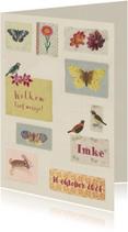 Geboortekaartje lief met kleine vintage figuurtjes