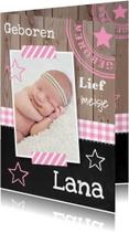 Geboortekaartje meisje foto hout sterren